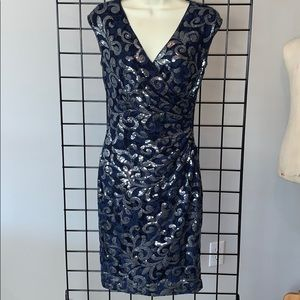 RALPH LAUREN Navy Sequined Lace Cocktail Dress